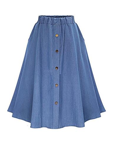 abordables Jupes-Femme Chic de Rue Punk & Gothique Toile de jean Trapèze Jupes - Couleur Pleine Mosaïque Bleu clair Bleu Taille unique / Ample