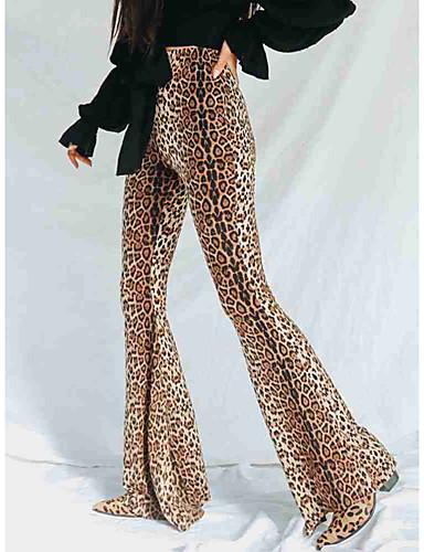 abordables Pantalons Femme-Femme Chic de Rue Mince Pour Bottes (Bootcut) Pantalon - Léopard Taille haute Marron M L XL