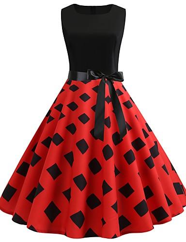 Kadın's Vintage A Şekilli Elbise - Geometrik, Kırk Yama Desen Diz-boyu
