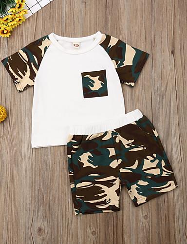 סט של בגדים כותנה שרוולים קצרים דפוס פעיל / בסיסי בנים ילדים / פעוטות