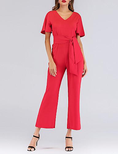 M L XL שרוכים לכל האורך אחיד, סרבלים ישר אודם סגנון רחוב / מתוחכם בגדי ריקוד נשים