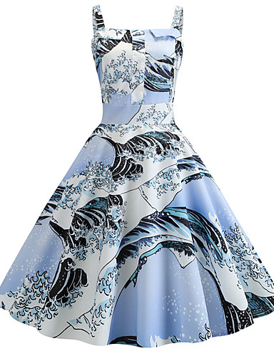 0013d6375 فستان نسائي ثوب ضيق عتيق طباعة طول الركبة ورد
