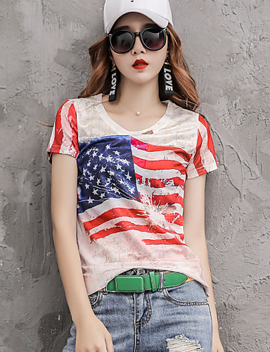 halpa Etniset & Cultural Puvut-Aikuisten Naisten Cosplay Amerikan lippu Cosplay-Asut T-paita Käyttötarkoitus Halloween Arki-asut Spandex Polyesteria T-paita Itsenäisyyspäivä