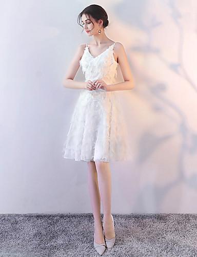 גזרת A צווארון V Midi שיפון שמלה לשושבינה  עם נוצות \ פרווה על ידי LAN TING Express