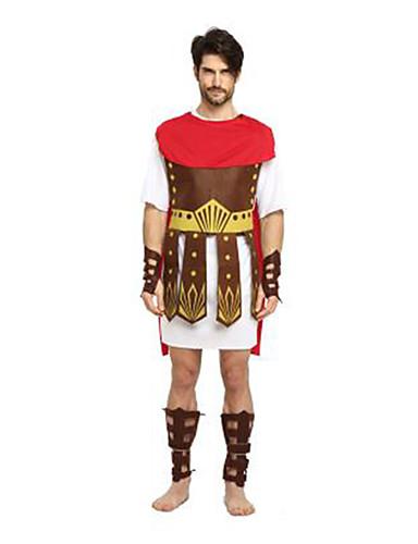 billige Cosplay og kostumer-Romerska kostymer Cosplay Kostumer Maskerade Voksne Herre Cosplay Halloween Jul Halloween Karneval Festival / Højtider Stof Rød Karneval Kostume Patchwork