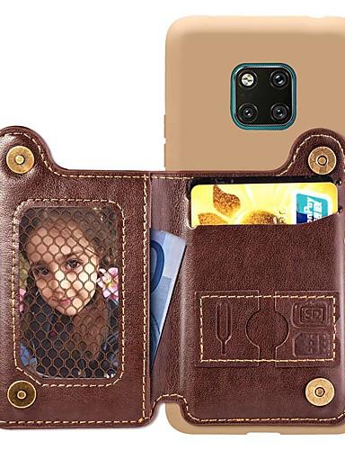 מגן עבור Huawei Huawei P20 / Huawei P20 Pro / Huawei P20 lite ארנק / מחזיק כרטיסים / עמיד בזעזועים כיסוי אחורי אחיד קשיח עור PU