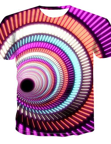 voordelige Heren T-shirts & tanktops-Heren Grote maten - T-shirt Kleurenblok Ronde hals Regenboog / Korte mouw