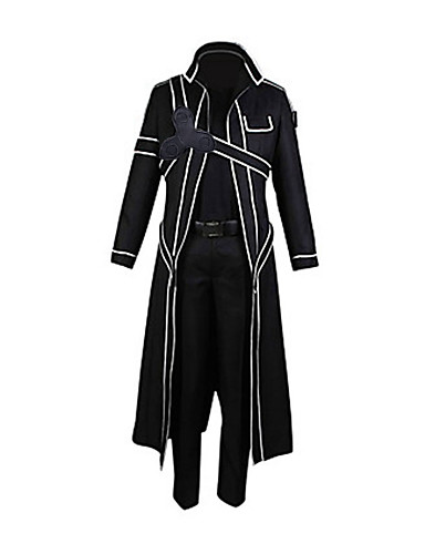 cheap Anime Cosplay-Inspired by SAO Alicization Kirito Anime Cosplay Costumes Cosplay Suits Solid Colored Long Sleeve Pants / Gloves / Cloak For Men's / Women's