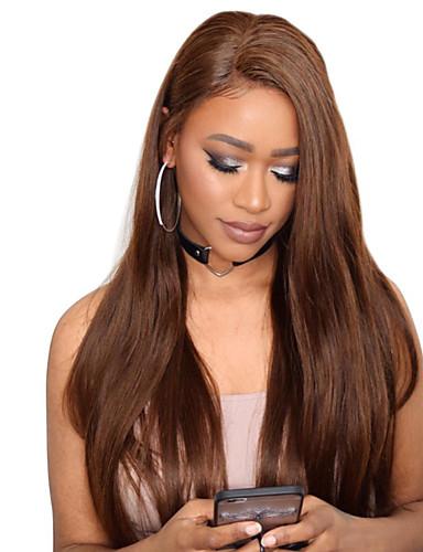 povoljno Perike s ljudskom kosom-Remy kosa Full Lace Lace Front Perika Srednji dio stil Brazilska kosa Ravan kroj Smeđa Perika 130% 150% 180% Gustoća kose Klasični Žene Prirodno Rasprodaja Udobnost Žene Srednja dužina Perike s