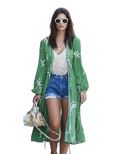 billige Topper til damer-Skjorte Dame - Blomstret, Netting Grønn US12