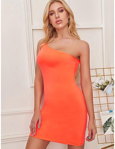 abordables Robes Femme-Femme Chic de Rue Elégant Au dessus du genou Gaine Robe - Dos Nu Mosaïque, Couleur Pleine Orange M L XL Sans Manches