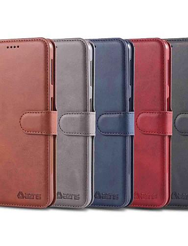 מגן עבור Samsung Galaxy S9 / S9 Plus / S8 Plus ארנק / מחזיק כרטיסים / עמיד בזעזועים כיסוי מלא אחיד קשיח עור PU