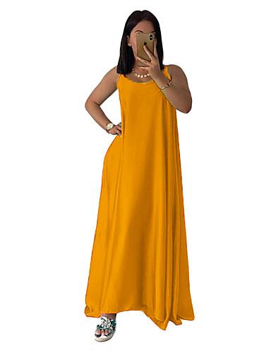 abordables Robes Femme-Femme Bohème Elégant Maxi Trapèze Balançoire Robe - Mosaïque, Couleur Pleine Dorée Vert Rouge L XL XXL Sans Manches