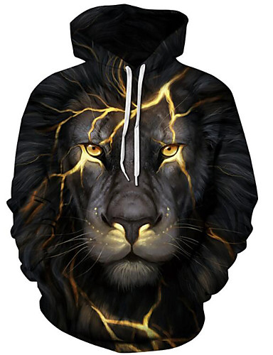voordelige Herenbovenkleding-Heren Standaard / overdreven Print Heren Sweaters 3D / Grafisch / dier Zwart