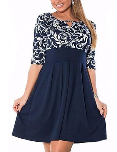 Недорогие Платья-Жен. Классический Оболочка Платье - Геометрический принт Выше колена