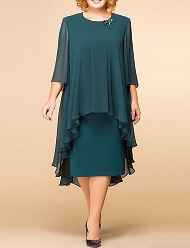preiswerte Übergrössen-Damen-Damen Elegant Spitze Lose Etuikleid Kleid - Spitze Druck, Solide Blumen Midi