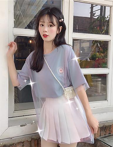 abordables Hauts pour Femme-Tee-shirt Femme, Arc-en-ciel - Coton Maille / Mosaïque Chic de Rue / Elégant Ample Bleu