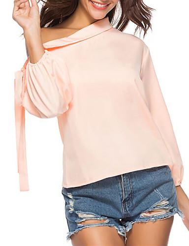 billige Dametopper-Bomull Løstsittende Enskuldret Skjorte Dame - Ensfarget, Blondér Gatemote / Elegant Ut på byen Rosa