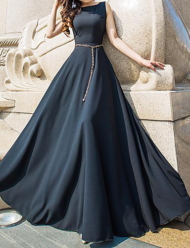 tanie Sukienki-Damskie Podstawowy Swing Sukienka - Solidne kolory, Patchwork Maxi