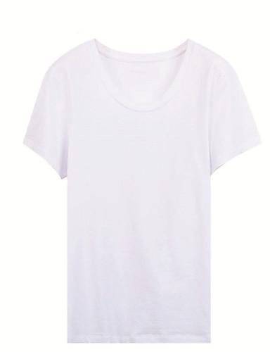 billige Topper til damer-Bomull Tynn T-skjorte Dame - Ensfarget, Lapper Grunnleggende Ut på byen Hvit