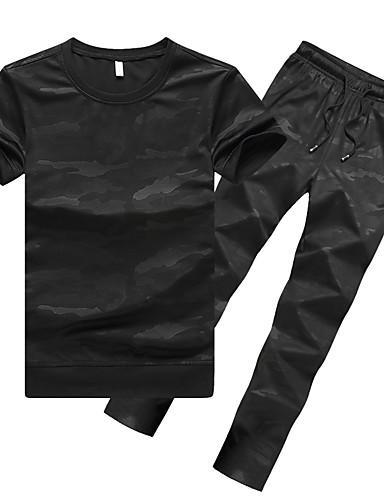 e5d04daca5e Men's Elastic Waistband Tracksuit Sports Spot Elastane Running T-Shirt With  Pants Running Fitness Short Sleeve Activewear Breathable Micro-elastic  Regular ...
