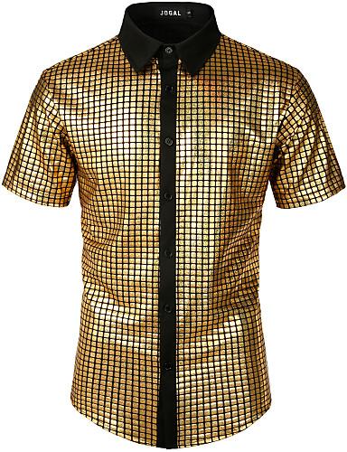 economico Camicie da uomo-Camicia Per uomo Rock / Punk & Gotico Tinta unita / Fantasia geometrica Oro US40
