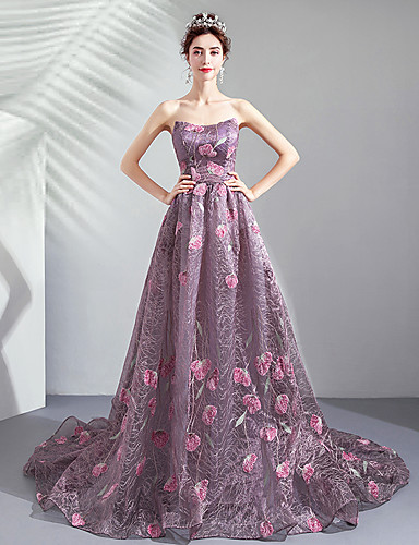 cheap Quinceanera Dresses-A-Line Strapless Sweep / Brush Train Tulle Formal Evening Dress with Appliques by LAN TING Express