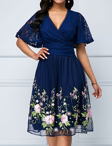 cheap TS@ Clothing-Women's Elegant A Line Dress - Floral Lace Navy Blue L XL XXL