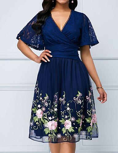abordables Vestidos de Mujer-Mujer Elegante Encaje Línea A Vestido - Encaje, Floral Hasta la Rodilla Escote en V Profunda