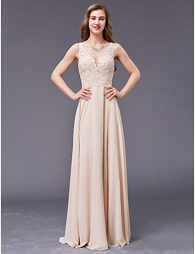 preiswerte Abendkleider-A-Linie V-Wire Ausschnitt Boden-Länge Chiffon Formeller Abend Kleid mit Perlenstickerei durch TS Couture®