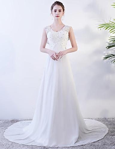 abordables Robes de Mariée 2019-Trapèze Bijoux Traîne Tribunal Mousseline de soie Robes de mariée sur mesure avec par LAN TING Express