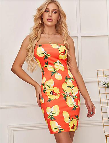 abordables Robes Femme-Femme Chic de Rue Elégant Au dessus du genou Moulante Gaine Robe - Dos Nu Mosaïque Imprimé, Fruit Orange M L XL Sans Manches