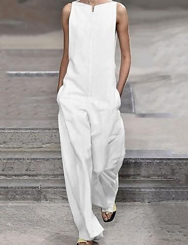 cheap Women's Jumpsuits & Rompers-Women's White Black Jumpsuit, Solid Colored XXXL XXXXL XXXXXL