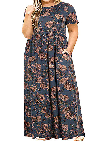 voordelige Grote maten jurken-Dames Street chic Chiffon Jurk - Kleurenblok, Print Maxi