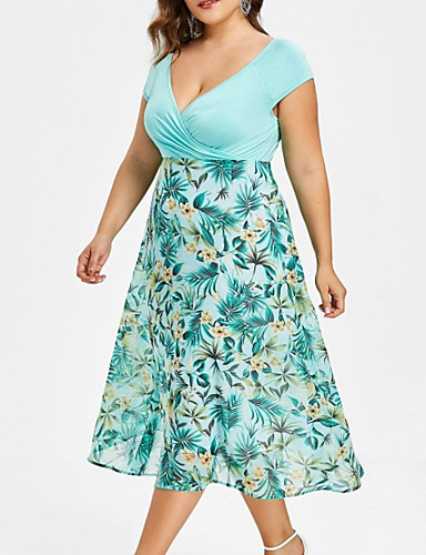 voordelige Grote maten jurken-Dames Grote maten Jurk - Bloemen, Print Diepe V-hals Midi