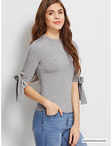 billige Dametopper-T-skjorte Dame - Ensfarget, Lapper Chinoiserie Grå US4