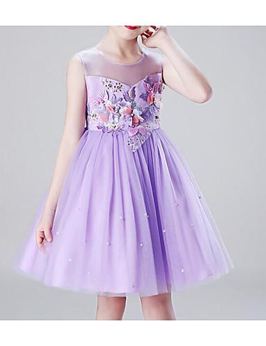נסיכה באורך  הברך שמלה לנערת הפרחים  - פוליאסטר / טול ללא שרוולים עם תכשיטים עם אפליקציות / פפיון(ים) / פרטים מקריסטל על ידי LAN TING Express