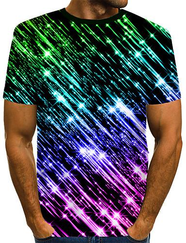 voordelige Heren T-shirts & tanktops-Heren Street chic / overdreven Print EU / VS maat - T-shirt Club Kleurenblok / 3D / Grafisch Ronde hals Zwart / Korte mouw