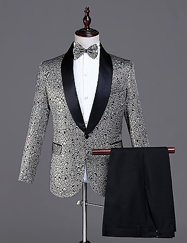 אפור מעוטר גזרה מחוייטת פוליאסטר חליפה - צווארון צעיף (שאל) Single Breasted One-button