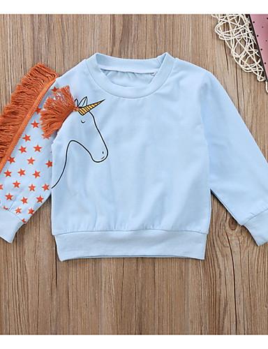 Infantil Para Meninas Básico Estampado Manga Longa Moleton & Blusa de Frio Azul Claro