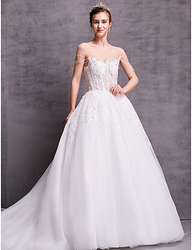 billige Bryllupskjoler 2019-A-linje V-hals Kapellslep Blonder Made-To-Measure Brudekjoler med av LAN TING BRIDE®