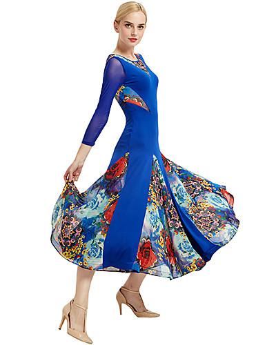 045b09c98785 Ballroom Dance Dresses Women's Training / Performance Spandex / Elastic /  Tulle Floral Print / Split Joint 3/4 Length Sleeve Dress