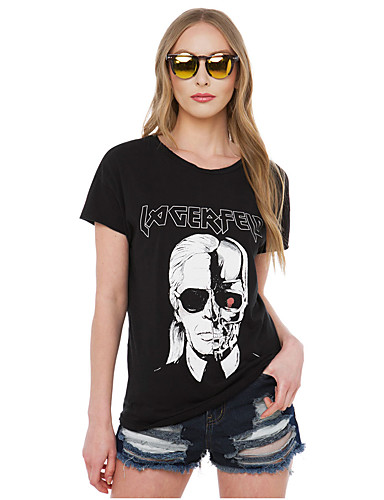 cheap Women's Tops-Women's Daily Wear Basic T-shirt - Skull Black