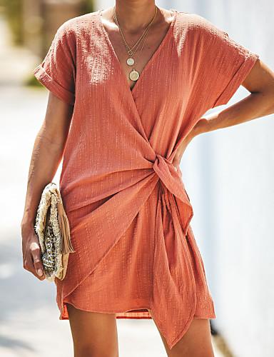 abordables Robes Femme-Femme Chic de Rue Sophistiqué Au dessus du genou Courte Robe - Cordon, Couleur Pleine Orange M L XL Manches Courtes