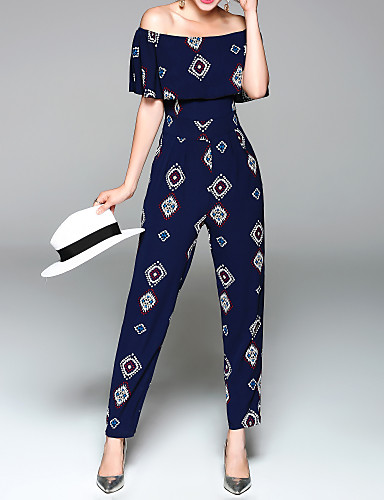 cheap Women's Jumpsuits & Rompers-Women's Off Shoulder Ruffle Holiday / Weekend Blue Jumpsuit, Graphic Print M L XL High Rise Short Sleeve Spring Summer / Slim