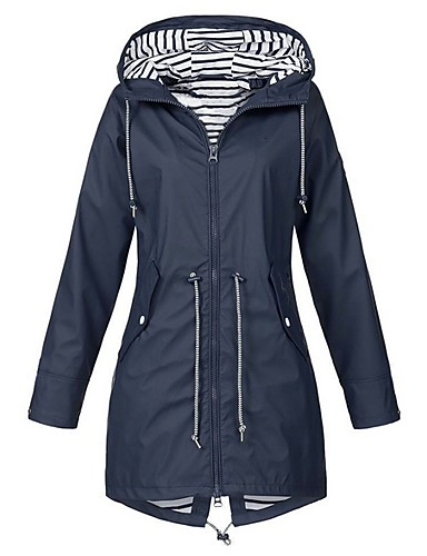 billige Overtøj til damer-Dame Daglig Lang Trenchcoat, Ensfarvet Hætte Langærmet Polyester Lyserød / Navyblå / Gul XXXL / XXXXL / XXXXXL