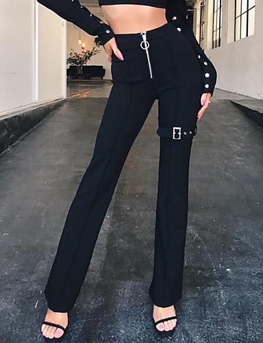 billige Tights til damer-Dame Grunnleggende Tynn Dressbukser Bukser - Ensfarget Lapper Hvit Svart S M L