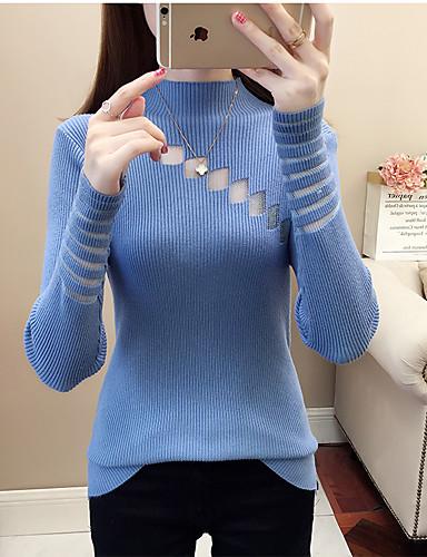 povoljno Ženske majice-Žene Jednobojni Dugih rukava Pullover, Uz vrat Jesen / Zima Blushing Pink / Obala / žuta One-Size