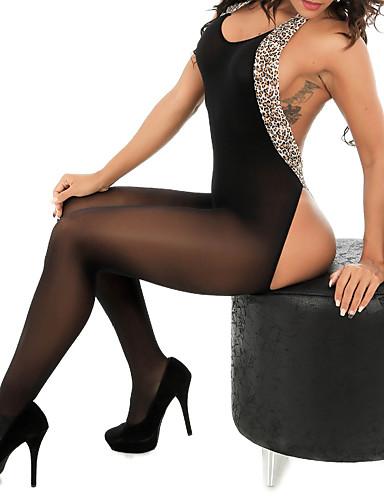 billige Dametopper-Dame Bohem Svart Kjeledresser, Leopard Blonde / Åpen rygg En Størrelse