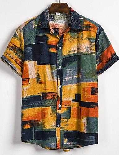 voordelige Herenoverhemden-Heren Standaard / Boho Print EU / VS maat - Overhemd 3D / Tie Dye Regenboog / Korte mouw